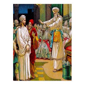Mark14: 53-65 Jesús antes del jefe alzaprima la Postal