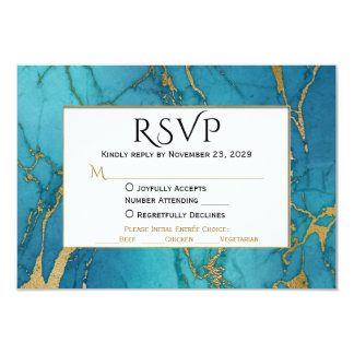 Mármol azul RSVP del oro que casa respuesta con la Invitación 8,9 X 12,7 Cm