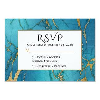 Mármol azul RSVP del oro que casa respuesta Invitación 8,9 X 12,7 Cm