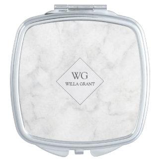 Mármol blanco con monograma profesional moderno espejo para el bolso