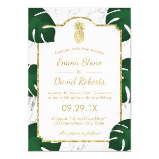 Mármol blanco de moda del boda tropical de la piña invitación 12,7 x 17,8 cm