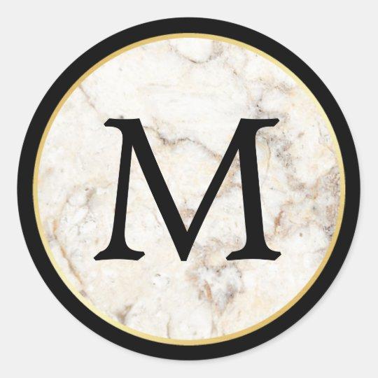 M rmol blanco elegante con negro y el monograma pegatina for Marmol negro y blanco