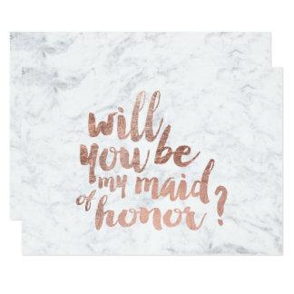 Mármol color de rosa del oro usted será mi criada invitación 8,9 x 12,7 cm