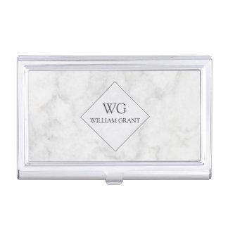 Mármol con monograma profesional moderno de moda cajas de tarjetas de visita