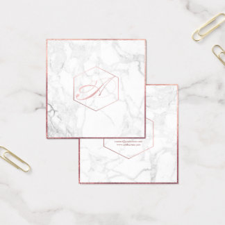 Mármol de PixDezines+Falso monograma color de rosa Tarjeta De Visita Cuadrada