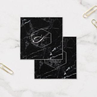 Mármol de PixDezines+Falsos monogramas de plata Tarjeta De Visita Cuadrada