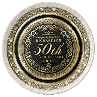 Mármol del negro del oro del aniversario de boda plato de porcelana