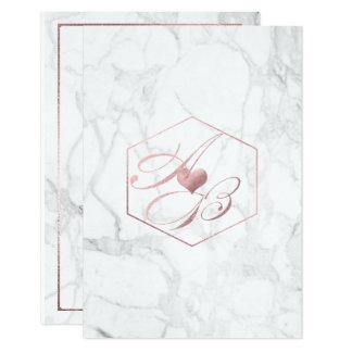 Mármol, falsos monogramas color de rosa de la invitación 8,9 x 12,7 cm