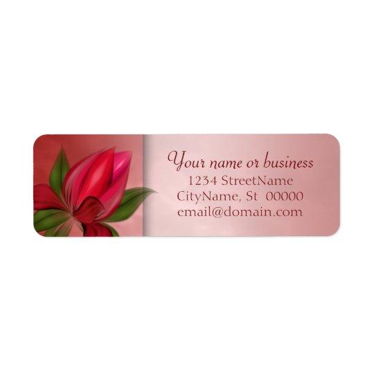 Mármol floral rojo y rosado etiqueta de remitente