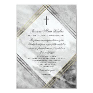 Mármol gris del falso oro y funeral de la cruz invitación 12,7 x 17,8 cm