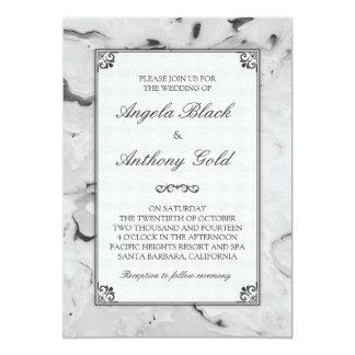 Invitaciones gris gris blanco negro for Marmol gris veteado