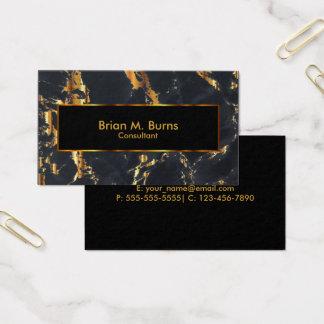 Mármol negro y diseño metálico del oro tarjeta de visita