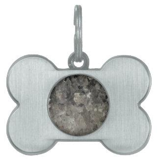 Mármol negro y gris placa para mascotas