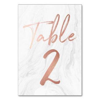 Mármol y tarjeta color de rosa 2 del número de la