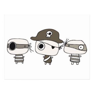 Marrón de tres piratas tarjetas postales