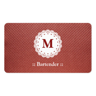 Marrón del monograma del cordón del camarero tarjeta de visita