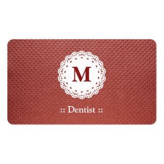 Marrón del monograma del cordón del dentista tarjetas de visita