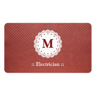 Marrón del monograma del cordón del electricista plantilla de tarjeta de visita