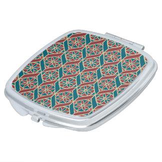 Marrón, modelo étnico del trullo, flores, galones espejos para el bolso