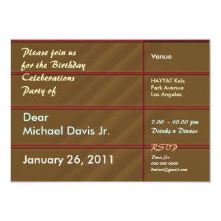 Marrón rico con el texto de la muestra invitación 12,7 x 17,8 cm