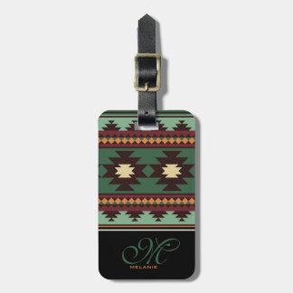 Marrón verde tribal del sudoeste etiqueta para maletas
