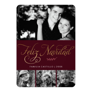 Marrón y foto de Feliz Navidad del oro Invitación 12,7 X 17,8 Cm