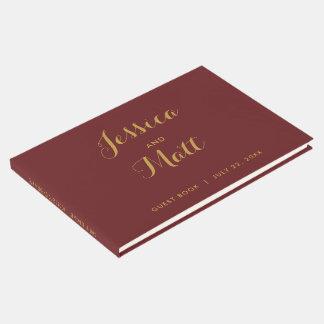 Marrón y libro de visitas elegante del boda de la