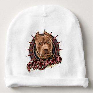 marrón y rojo radicales del pitbull del arte del gorrito para bebe