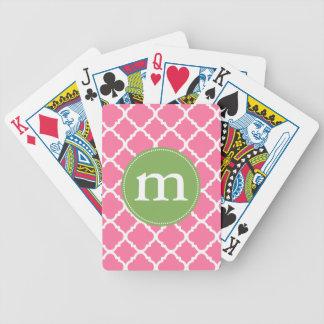 Marroquí rosado elegante Quatrefoil personalizado Baraja De Cartas