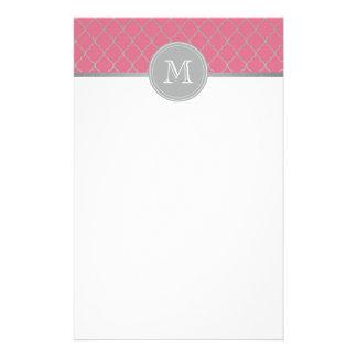Marroquí rosado monogramed papelería