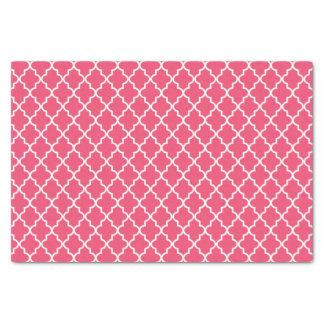 Marroquí rosado y blanco oscuro moderno Quatrefoil Papel De Seda