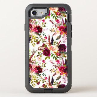 Marsala de Boho Borgoña floral en blanco Funda OtterBox Defender Para iPhone 8/7