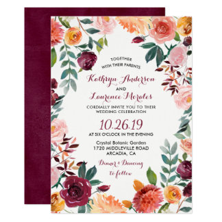 Marsala se ruboriza boda botánico rosado de la invitación 12,7 x 17,8 cm