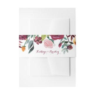 Marsala se ruboriza el casarse botánico rosado de cintas para invitaciones