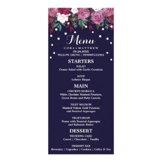Marsala y Borgoña florales en menú del boda de la