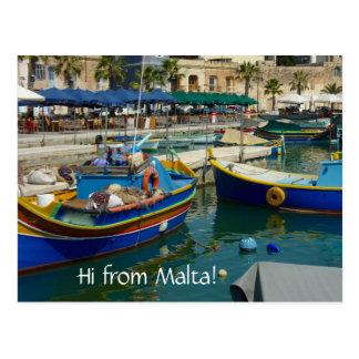 Marsaxlokk pintó los barcos postal