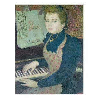 Marta en el piano, 1891 postal