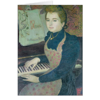 Marta en el piano, 1891 tarjeta de felicitación
