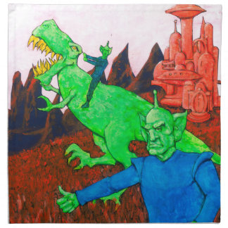 Martian y T-Rex Servilleta De Tela