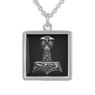 martillo del thor collar de plata de ley