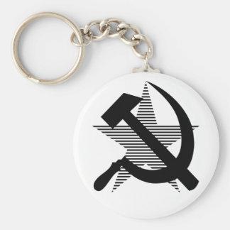 Martillo y hoz negros soviéticos llaveros personalizados