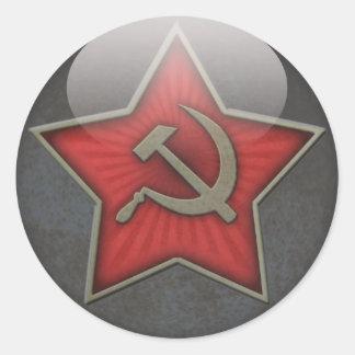 Martillo y hoz soviéticos de la estrella etiqueta redonda