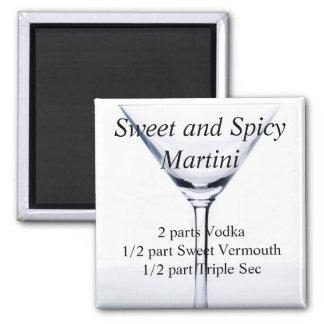 Martini dulce y picante imán cuadrado