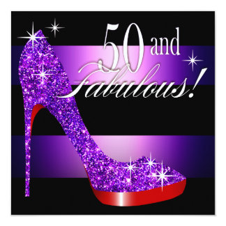 Mary Ann 50 y raya fabulosa del estilete de Bling Invitación 13,3 Cm X 13,3cm