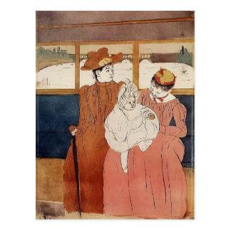 Mary Cassatt: Interior del tranvía que pasa el pue Tarjeta Postal