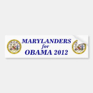 Marylanders para el pegatina 2012 de Obama Etiqueta De Parachoque