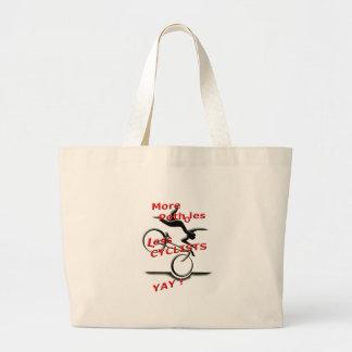 más agujeros menos ciclistas (yay) bolso de tela gigante