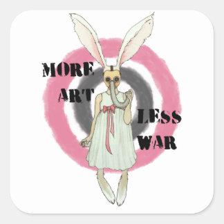 Más arte menos guerra pegatina cuadrada