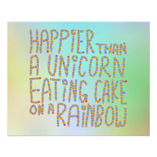 Más feliz que un unicornio que come la torta en un folleto 11,4 x 14,2 cm