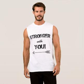 MÁS FUERTE con usted camisa sin mangas blanca del